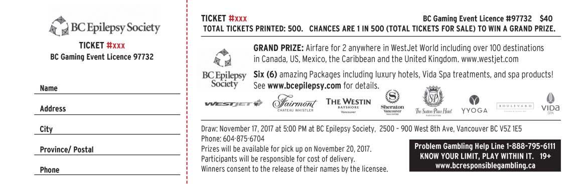 BC EPilepsy Ticket